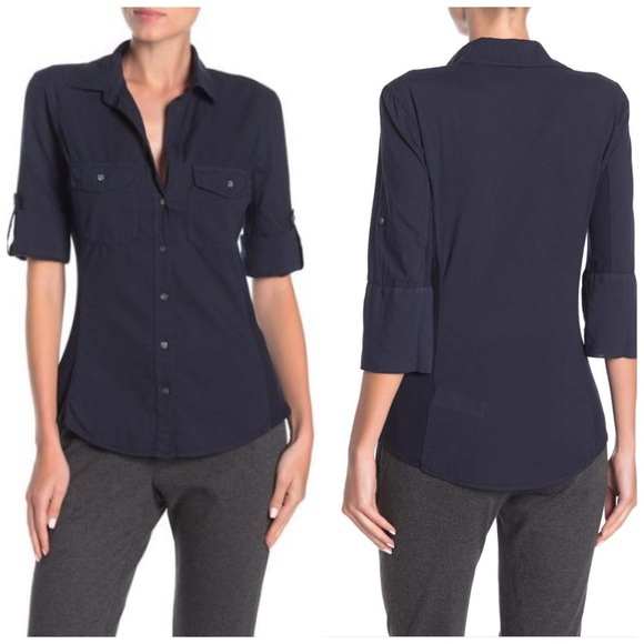 James Perse Tops - James Perse Black Contrast Ribbed Surplus Shirt L